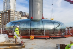 End of assembly of the British Airways i360 panoramic platform on the Brighton site
